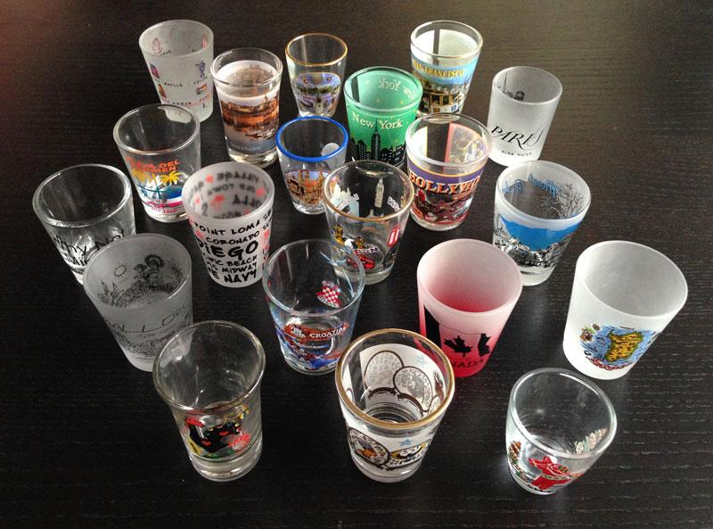 Så här såg samlingen av snapsglas ut för ett par år sedan.