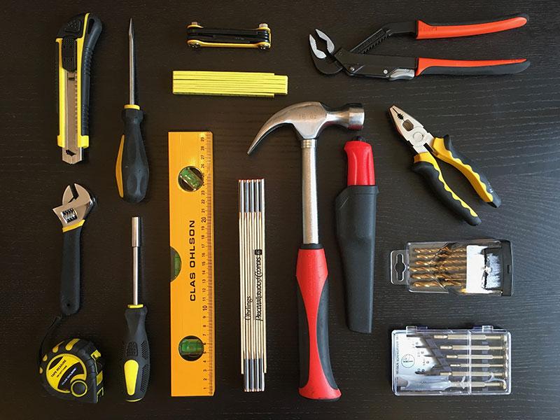 Den nya betydligt mer slimmade verktygsuppsättningen.